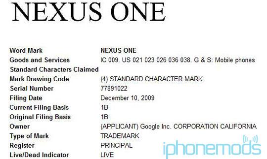 Google zaregistriroval tovarnyi znak Nexus One