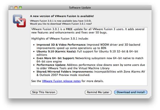 Vmware Fusion 3.0.1 - Update