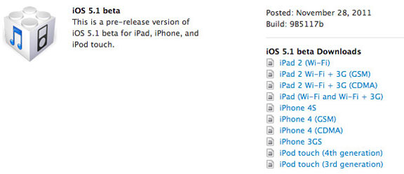 Download iOS 5.1 beta