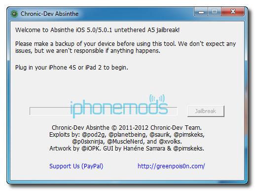 dzhyeilbryeik iPhone 4S pomoshchyu Absinthe